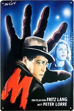 Blechschild Fritz Lang Film M Lorre geprägt 20x30 Reklame Vintage Sign 1844