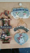 Signs Christmas wall plaques decorative Snowman two wooden One ceramic
