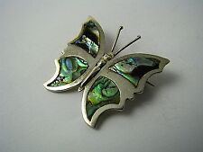 Handcrafted Sterling Silver Butterfly Brooch Pin Abalone Shell Taxco Mexico '60s
