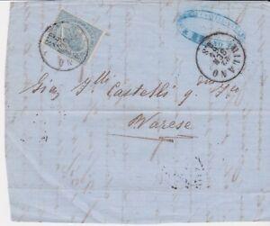 Italia - Regno 1864. 15c. Celeste, Frontespizio da Milano per Varese 22/01/1866