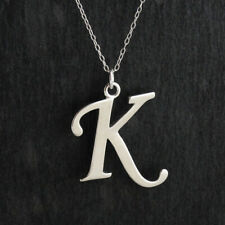 Script Letter K Charm Necklace 925 Sterling Silver Capital Initial A-Z Name Gift