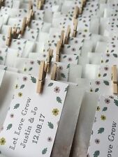 10 x Handmade Personalised Wedding Seed Favours, Wildflower Seed Packets