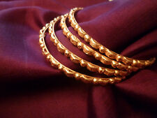 22K GOLD PLATED SET OF 4 BANGLES KADAS INDIAN WEDDING BOLLYWOOD LARGE SIZE 2.8