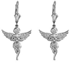 14K White Gold Angel With Praying Hands Wings Drop/Dangle Leverback Earrings