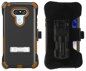 BROWN RUGGED TRI-SHIELD STAND CASE BELT CLIP HOLSTER SCREEN PROTECTOR FOR LG G5