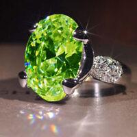 925 Silver Glod Filled Peridot Birthstone Engagement Gemstone Wedding Ring 359