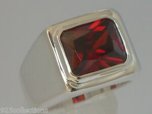 11x9 mm 925 Sterling Silver January Red Garnet CZ Solitaire Men's Ring Size 7-14