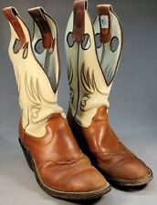 Vintage Womens OlatheRoughstock CowboyBoots Size 8 Brown Lowers And Ivory Uppers