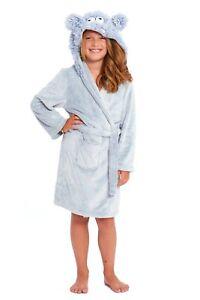 Girls Dressing Gown Kids Hooded Monster Nightwear Sleepwear Childrens Bathrobe