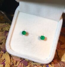 Luminous natural Green Onyx 4mm round faceted sterling silver stud earrings 🍃