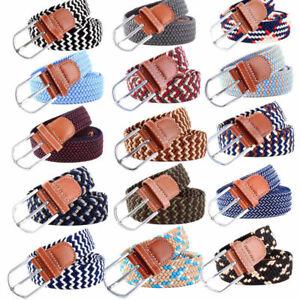 Mens Ladies Belts Canvas Webbing Braided Leather U Buckle Elastic Woven Stretch