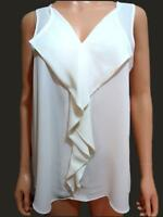New Ex M&S Ladies Ivory Blue Coral Sleeveless Chiffon V Neck Top Size 10- 24