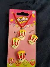 Shopkins Poppy Corn Popcorn earrings necklace and ring costume jewelry set