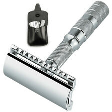Merkur Travel Safety Razor with Black Leather Pouch CL 933 Straight Cut