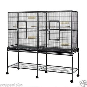 Elegance Double Metal Large Flight Cage - Pull out trays Wheeled base 1.65m wide
