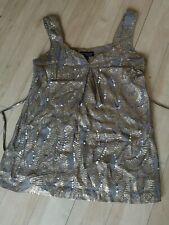 Ladies Top Size 6 WAREHOUSE Gold Shimmer Sequin Party Evening Wedding