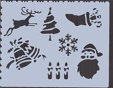 Plastic/Window/Coated/Paper/Stencil/Multi/Christmas/Designs/Tree/Reindeer/Candle