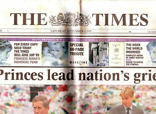 The TIMES 6 SEPT 1997 LADY DIANA - PRINCES LEAD A NATIONS GRIEF VGC