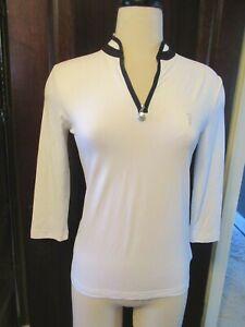 NWT GOLFINO White Black Part Zip Troyer DRY COMFORT Ladies Golf Shirt 36 4 Small