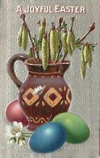 Easter~Pink Blue Green Eggs~Catkins in Purple Pitcher~Silver Texture Back~Emboss
