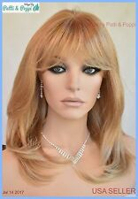 Skin Top Mid Length Wig Layered with Bangs 24B.27C Strawberry Blond USA Seller