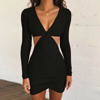 Women's Sexy Solid Color V-neck Long-sleeved Hollow Slim Party Clubwear Dress