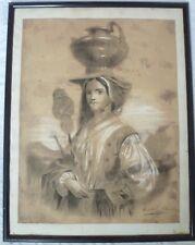 Dessin - Portrait de femme orientaliste - Pastel - XIXème