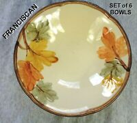 "Vintage FRANCISCAN OCTOBER 8"" Coupe Cereal Bowl - Fall Leaf Design - SET of 6"