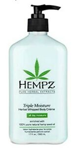 Hempz Triple Moisture Herbal Whipped Body Creme Lotion 17oz