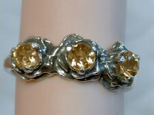 YELLOWISH ORANGE SAPPHIRE RING SIZE 7 ANTIQUE 925 STERLING SILVER 3 FLOWER USA