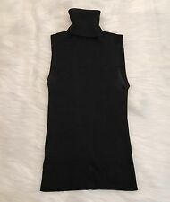 D&G Dolce & Gahanna Women's Vintage Black Ribbed Sleeveless Turtle Neck  28/42
