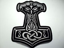 THOR HAMMER SILVER   EMBROIDERED BACK PATCH