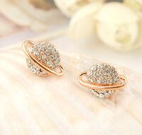 18K Rose Gold Filled Women Lady Sparkling Crystal Saturn Stud Earrings Unique