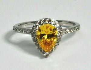 Fragrant Jewels Ring Size 5 Teardrop Pale Yellow Rhinestone