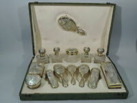 Art Nouveau Vanity Set  Antique Traveling Case  French 950 Silver