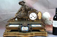 French antiqu 19thc Clock wood base porcelain plaques sevres porcelain