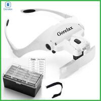 Magnifying Glasses LED Light Lamp Head Loupe Jeweler Headband Magnifier Eye