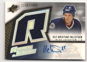 Ole-Kristian Tollefsen 05-06 UD SPx Rookie Jersey & Autograph Signature /1999