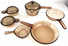 Vintage Corning Vision Ware Amber Amber/Brown Cookware 9/pc Set Usa And France