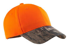New Hunters Orange Safety Hat Cap Mossy Oak Camo Adjustable Deer Elk Rifle Hunt