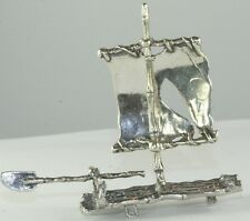 VINTAGE MINIATURE 1970'S STERLING SILVER CHINESE JUNK BOAT SHIP STATUE