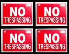 """4 NO TRESPASSING  Flexible Heavy  Plastic Sheet   9""""x12"""" - 4 Sign"""