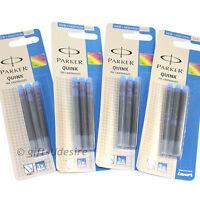 12 PARKER Quink Ink Cartridges - Blue Colour - Fits All Parker Fountain Pens