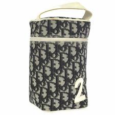 Christian Dior 狐步化妆品袋黑色白色 PVC 专利皮革 ak38428g