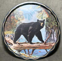 Vintage James L Artig Wildlife Tin Trays Black Bear  Man Cave