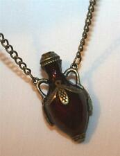 Lovely Deep Burgundy Red Maroon Leaf Accented Vase Brasstone Pendant Necklace