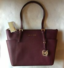 Auth Michael Kors Burgundy Red Jet Set Medium Top-Zip Saffiano Leather Tote
