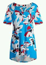 Ladies Dip Back Jersey Floral Print Top - Turquoise - Size 14 *QUALITY*