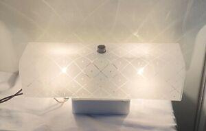 "Vintage 12"" Bath Vanity Etched Light Fixture U-Shade Wall Mount 2 Bulb Nice Look"
