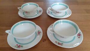 4 Tasses à café anciennes (Ceranord St Amand) + sous tasses assorties